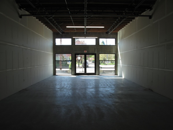 Looking out towards the street in the new space