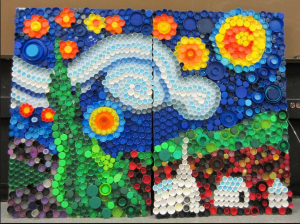 Check out this pretty mosaic made from soda bottle lids! Kids and adults alike can have fun turning waste into art!